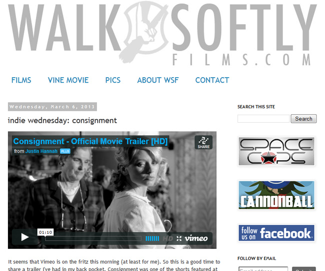 Consignment movie by Justin Hannah featured on Walk Softly Films website