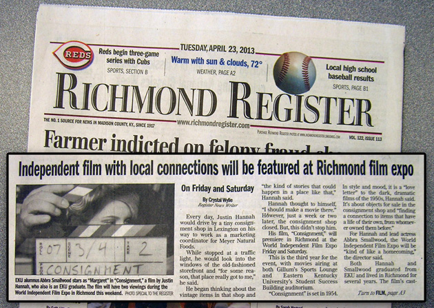 Consignment movie interview with Justin Hannah makes the front page of the Richmond Register